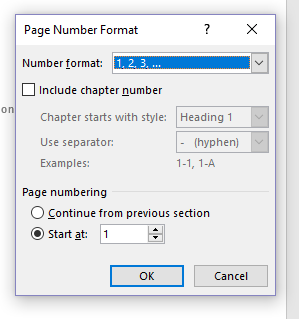 Screenshot of the Page Number Format dialog