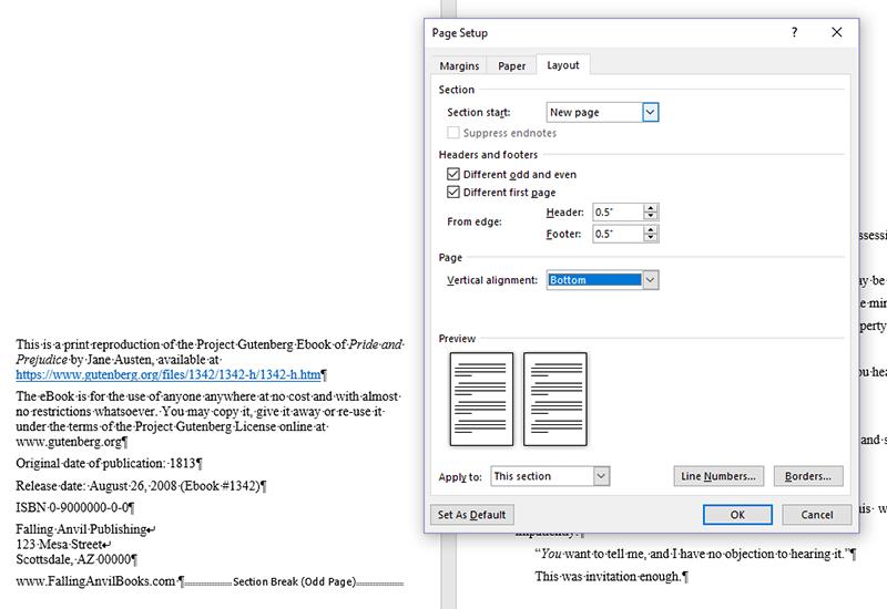 Screenshot of page setup dialog layout tab