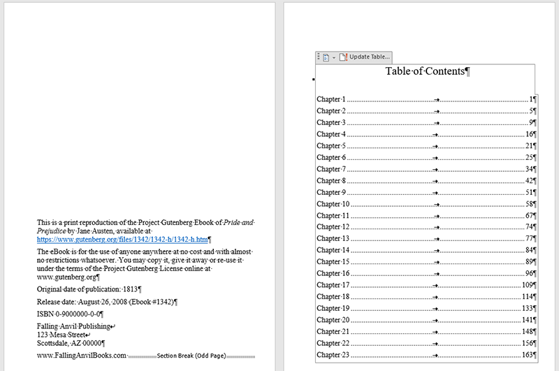 Screenshot of an automated Table of Contents