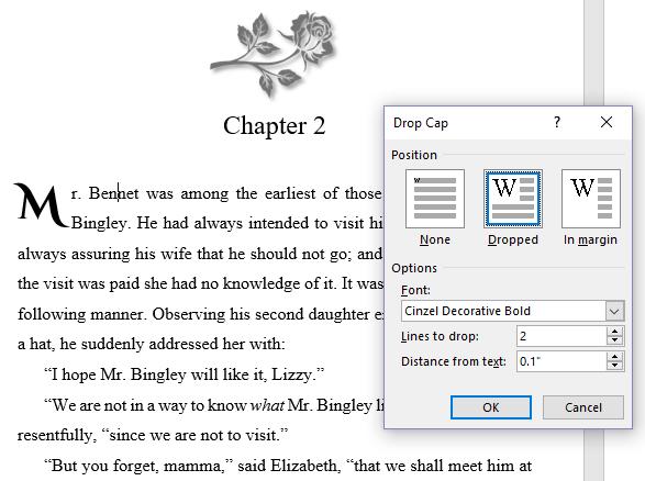 Screenshot of the drop cap options in Word