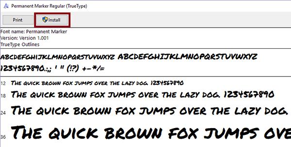 Screenshot of font installer in Windows