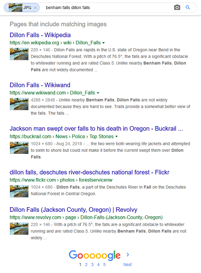 Reverse image search results for a photo of Dillon Falls